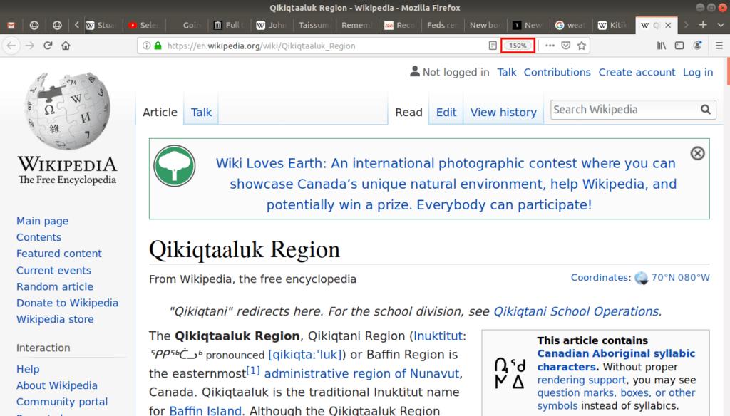 150% zoom in on Qikiqtaaluk Region Wikipedia page.