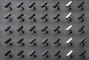 security cameras lined up on the walls
