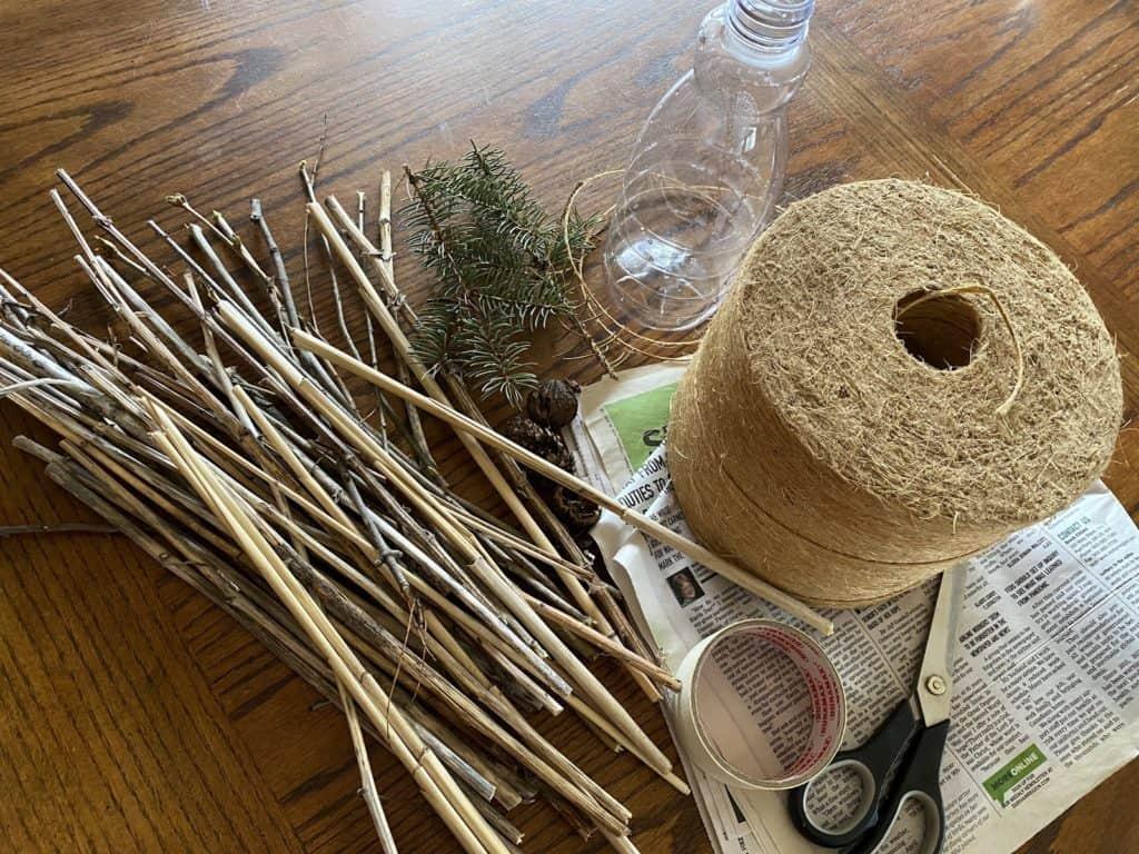 sticks, twigs, pine cones, tree bark, hollow reeds, bamboo stems
