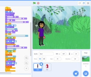 A screenshot of an interactive story being created in Scratch.
