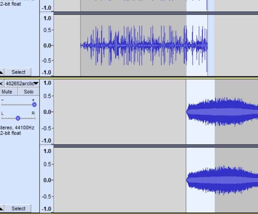 Crossfade in Audacity with two clips of audio.