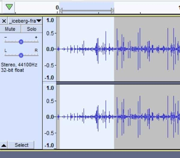 Audio track selected in Audacity to create a fade in effect.