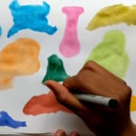 Painting blob art characters.