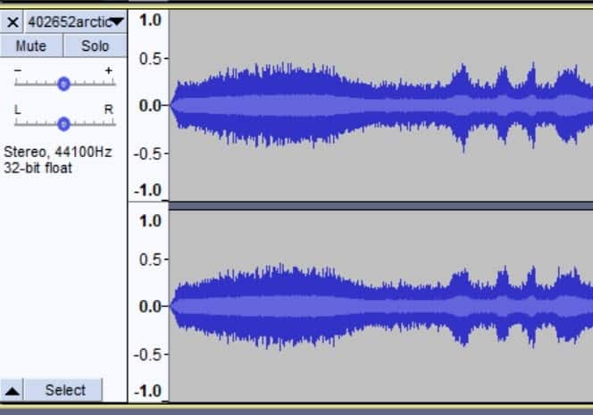 Audacity's gain slider displayed in the left hand menu. Used to control the gain of your track.