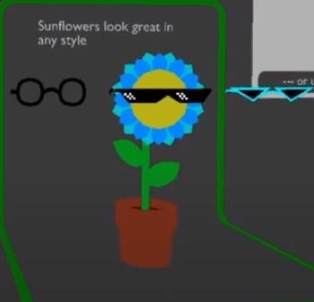 sunflower specs, sunflower wearing glasses in blender