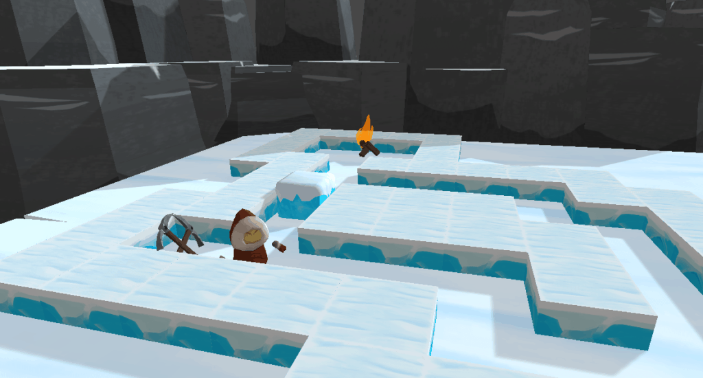 the character of Nanili standing in a maze beside pickaxes