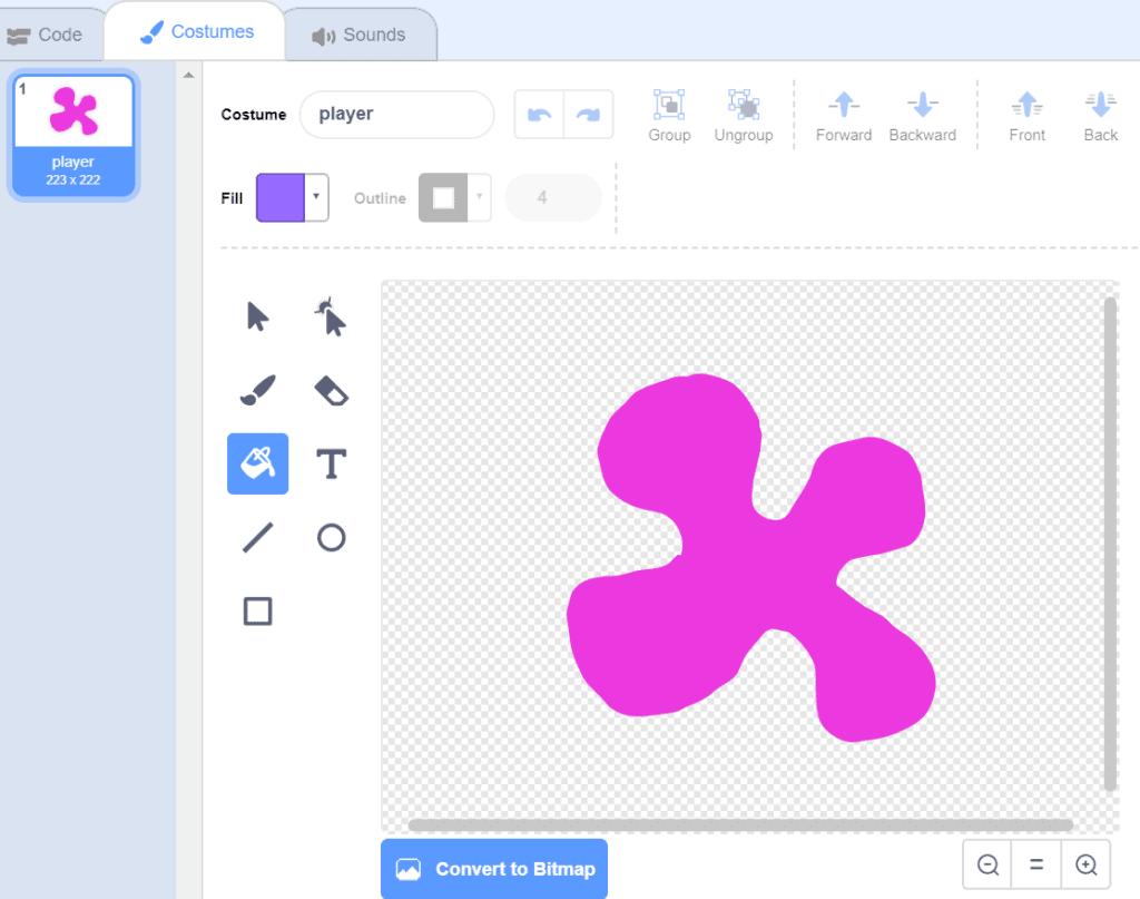 A pink blob drawn in Scratch.
