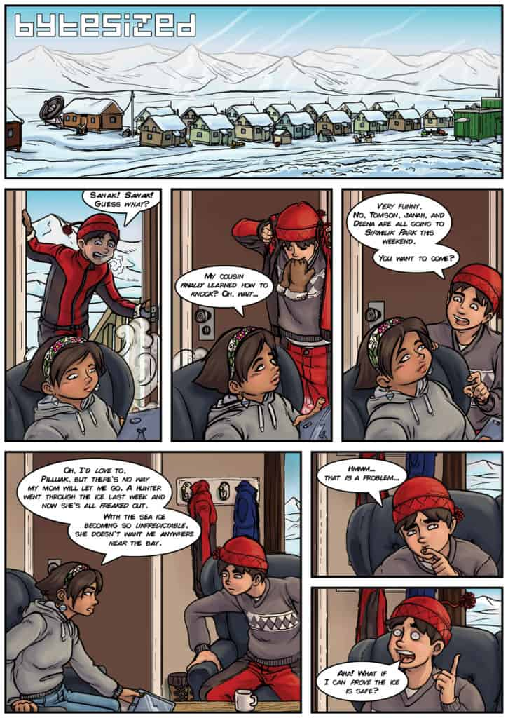 The first page of the bytesized comic by Ian MacLean.