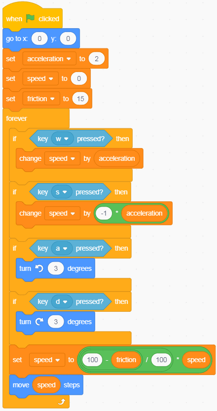 The acceleration block changed/added to a block of code in Scratch.