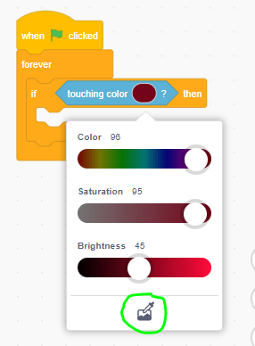 """Changing the colour inside of an """"if _ then"""" block, using a colour slider."""