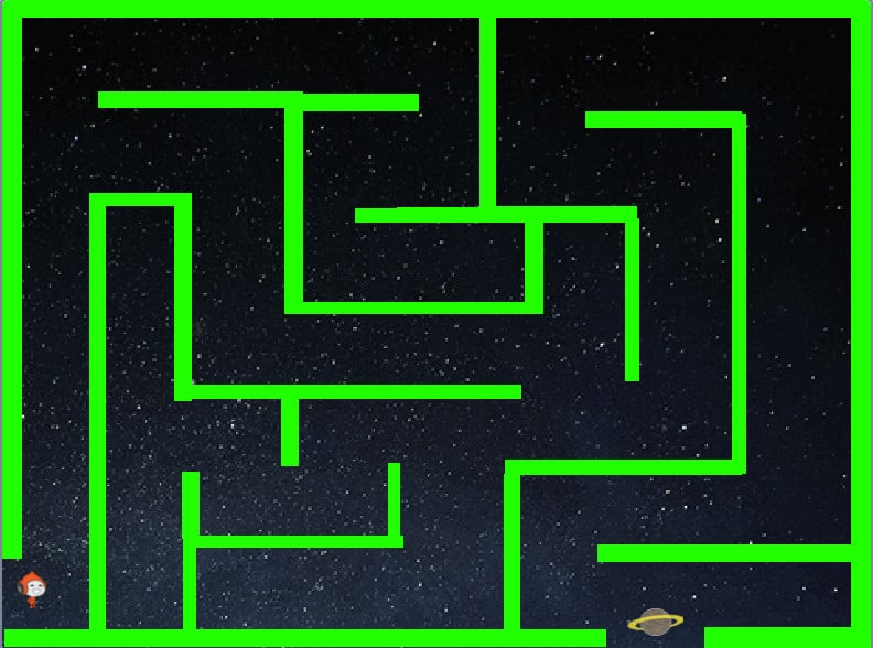 maze in green, with a space background displayed in scratch.