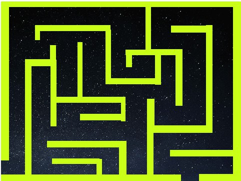 neon green maze with a space background being displayed in scratch.