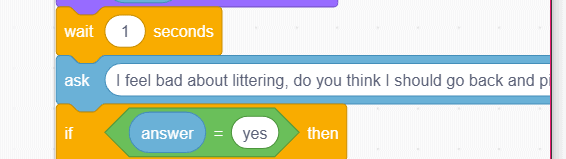 Scratch character Dani's question blocks.
