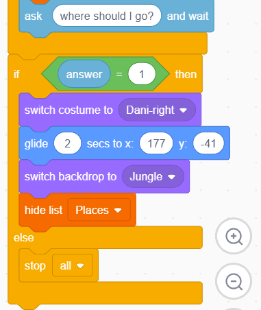 Movement blocks in Scratch for character Dani.