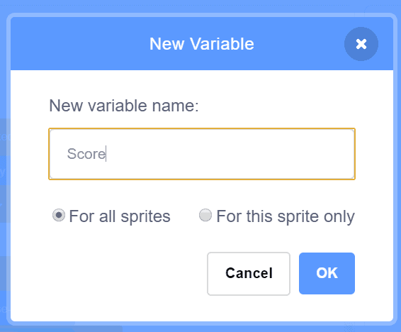 Creating a new variable in Scratch.