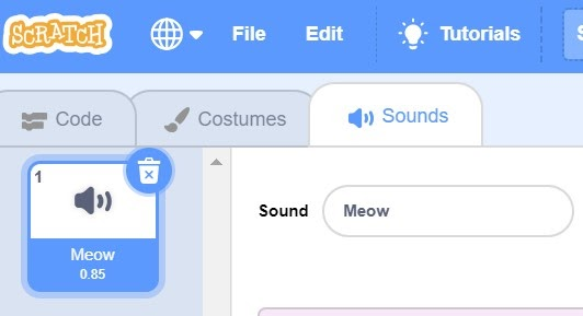 Sounds tab highlighted in blue in Scratch.