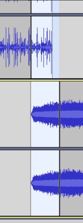 Shortcut cntrl+i to split two clips in Audacity.
