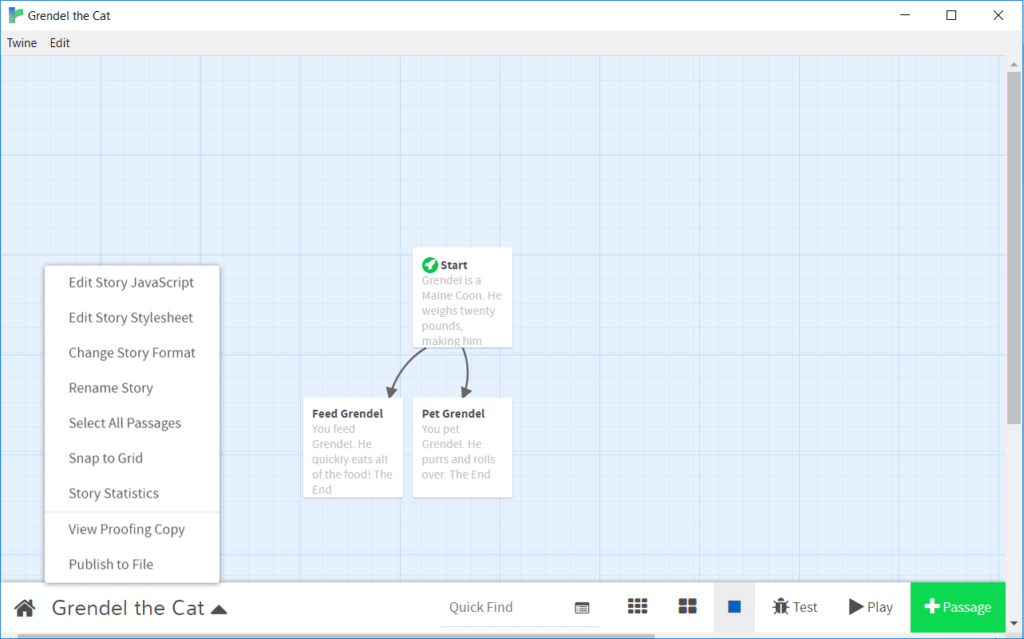 The options menu in Twine showing the Publish to File button.
