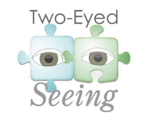 """A graphic with two eyes in puzzle pieces, reading """"Two-Eyed Seeing."""""""