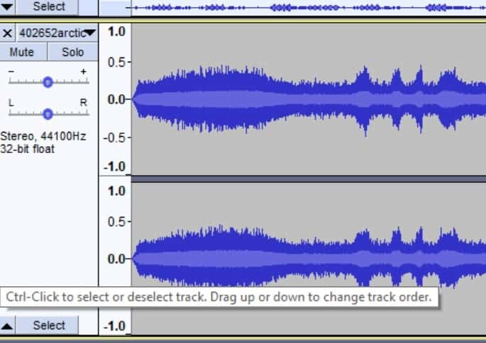 A track of music being displayed as a waveform.