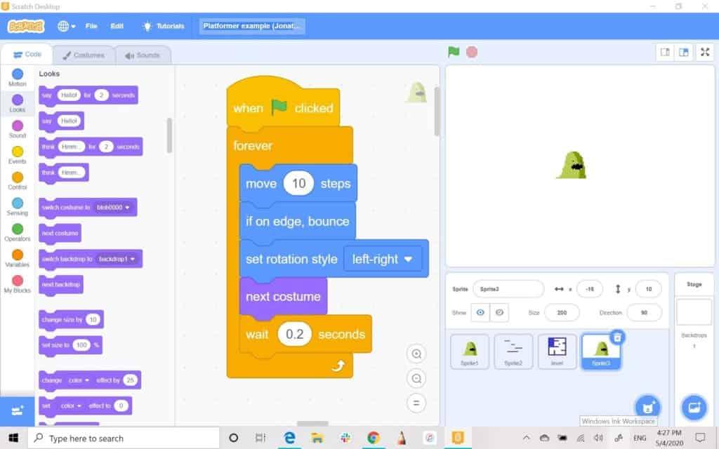 Scratch sprite editor screen with block code