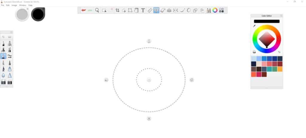 Autodesk interface, making your circle bigger.