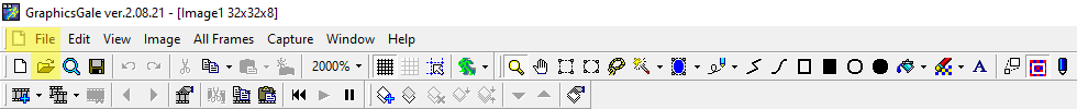 Graphicsgale tool bar with File highlighted in yellow.