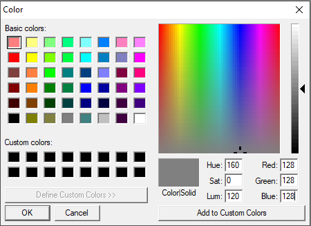 The colour swatch palette in Graphicsgale.