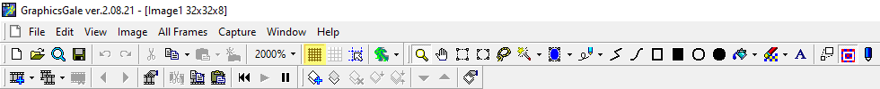 Graphicsgale's grid view button highlighted in yellow.