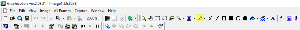 Pen tool highlighted in yellow, in Graphicsgale.