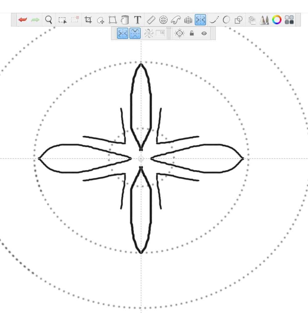 The straight lines are now in the shape of a V between each petal.