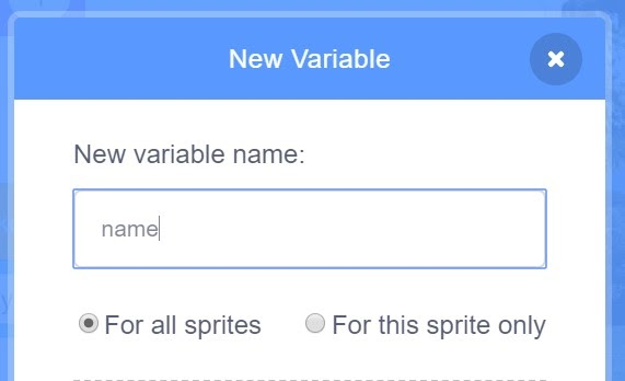 New Variable option.