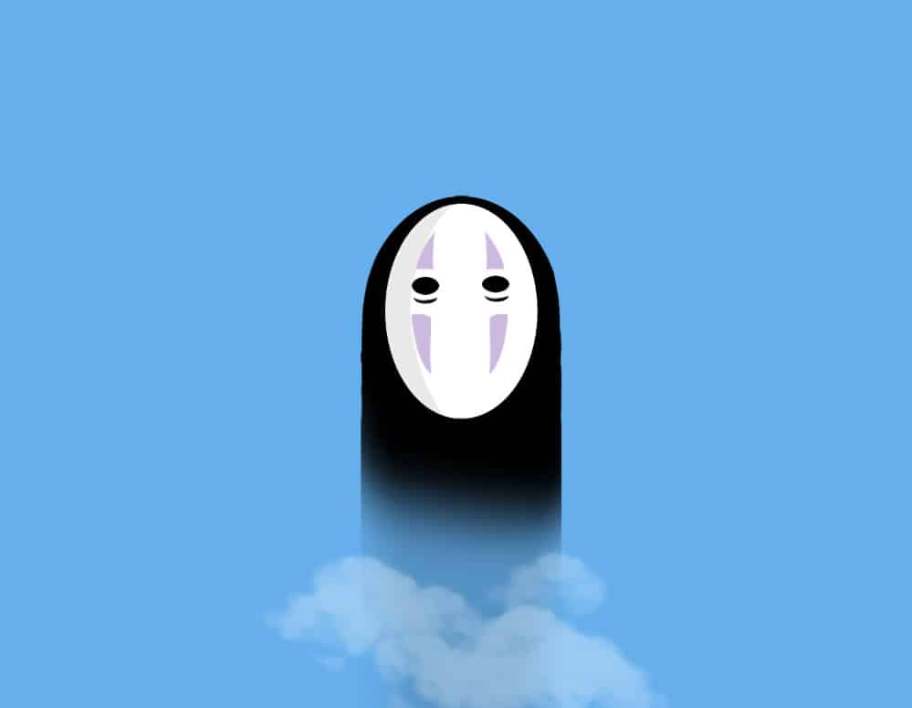 Art work of Studio Ghibli's No-Face character against a light blue background. Fog surrounds the bottom of No-Face.