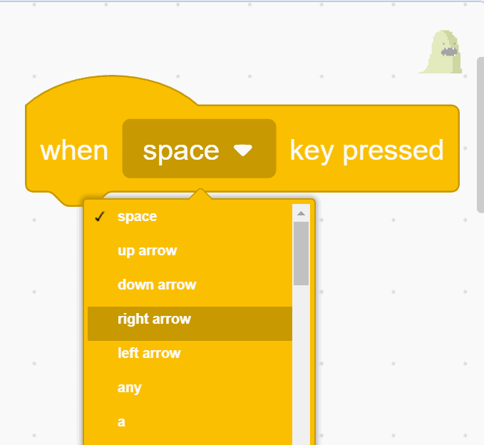 """""""When space key pressed"""" block showing different key directions"""