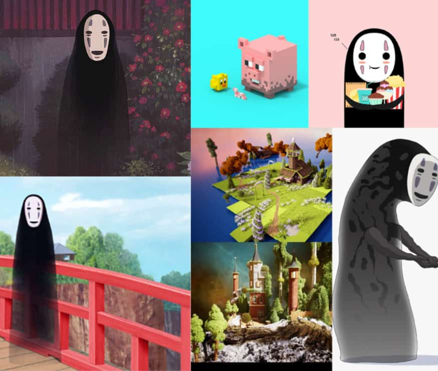 mood board of no face and voxel art