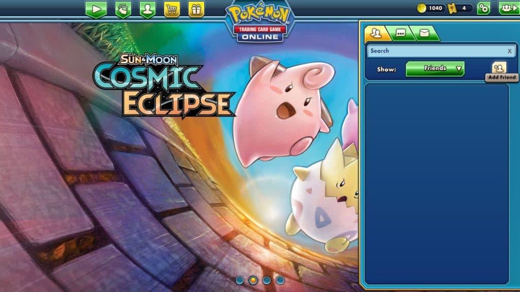social menu displayed in pokemon tcgo