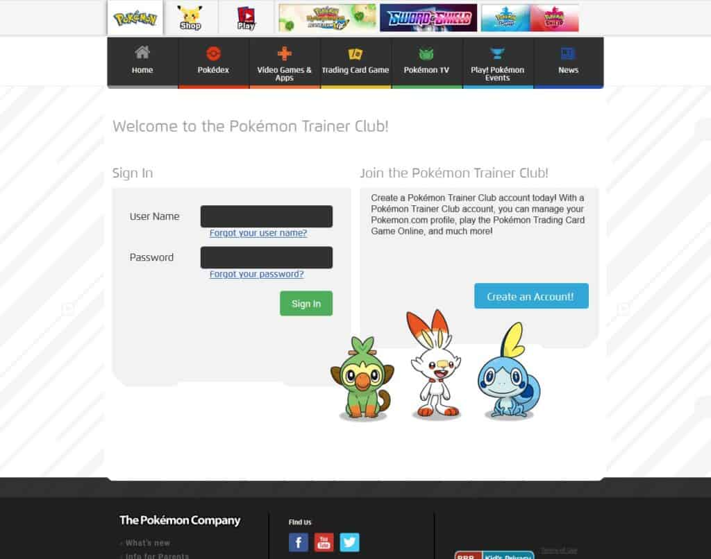sign in for pokemon tcgo