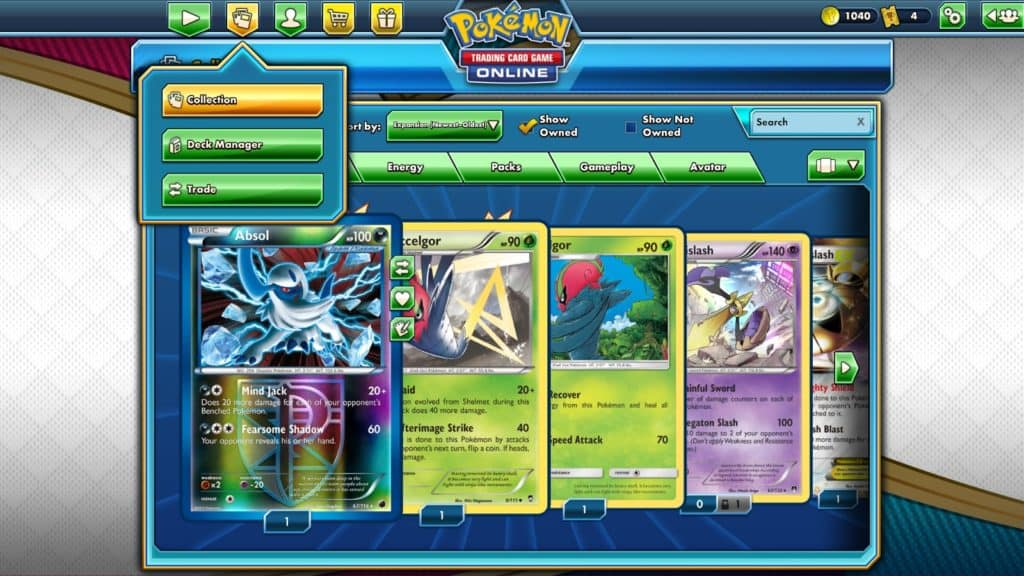 collection of card on pokemon tcgo