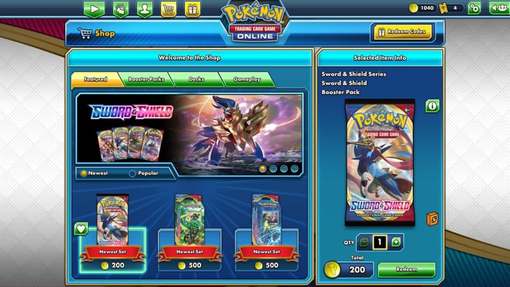 shop section of pokemon tcgo
