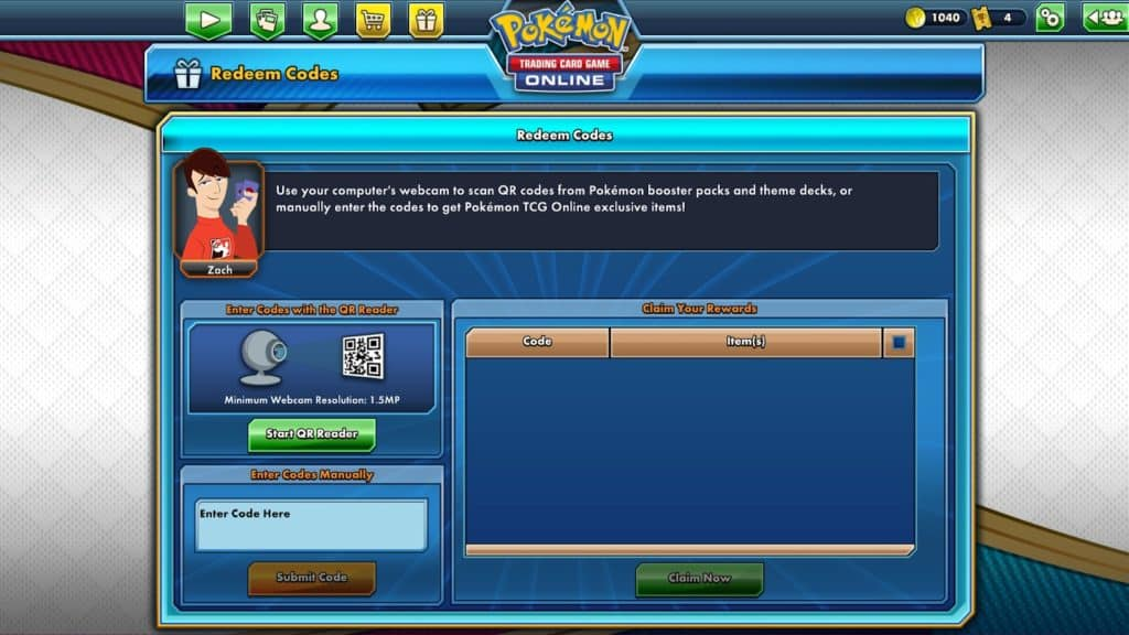 redeem codes section of tcgo