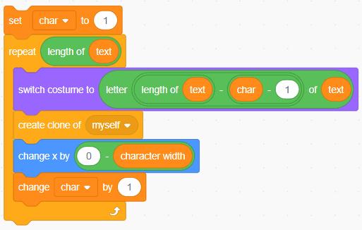 A block of code in Scratch.