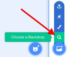 """""""Choose a Backdrop"""" option highlighted in Scratch, with a red arrow pointing towards the tool icon."""