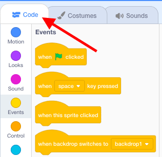"""Scratch """"Code"""" window being pointed to with a red arrow."""
