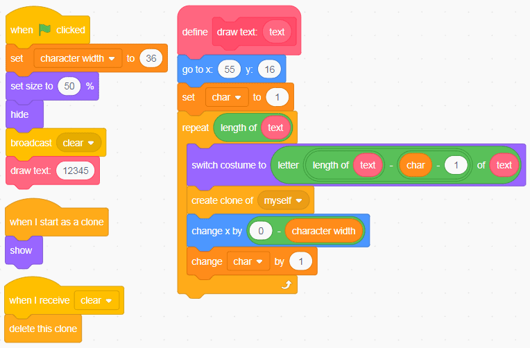 Two sets of block code in Scratch.