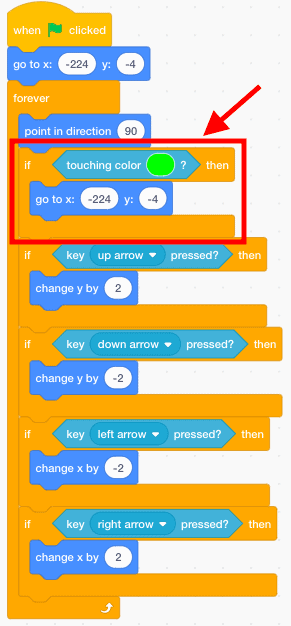 Scratch code blocks with an area of code outlined in red.