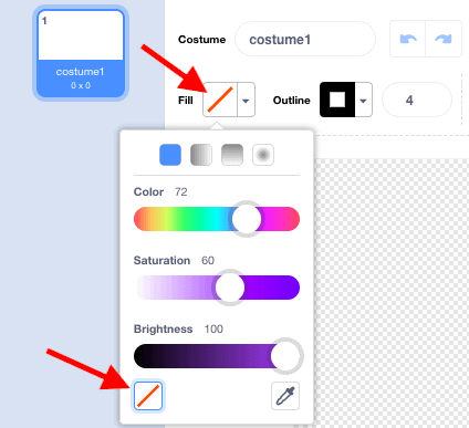 """A """"Fill"""" drop down menu in Scratches Costume window, with red arrows pointing towards the transparent options."""