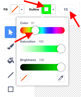 """The """"Outline"""" dropdown menu in Scratches Costumes window open, with colour sliders selected to a bright green."""