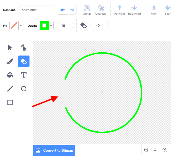 A bright green circle made in Scratches Costume window. The eraser tool is selected, and a part of the circle is erased.
