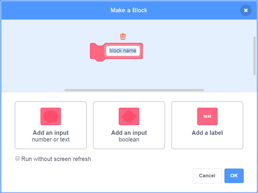 Make a block in Scratch window.