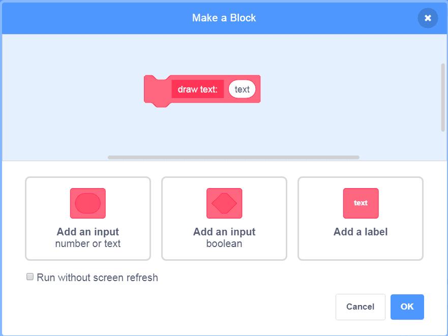 Make a block window in Scratch.